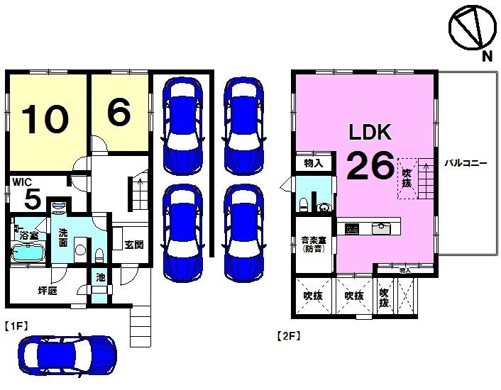 【間取り】 建築士施工のお家。LDK(全面床暖房付・全面珪藻土・吹き抜け勾配天井)。全室浄水システム。駐車5台可
