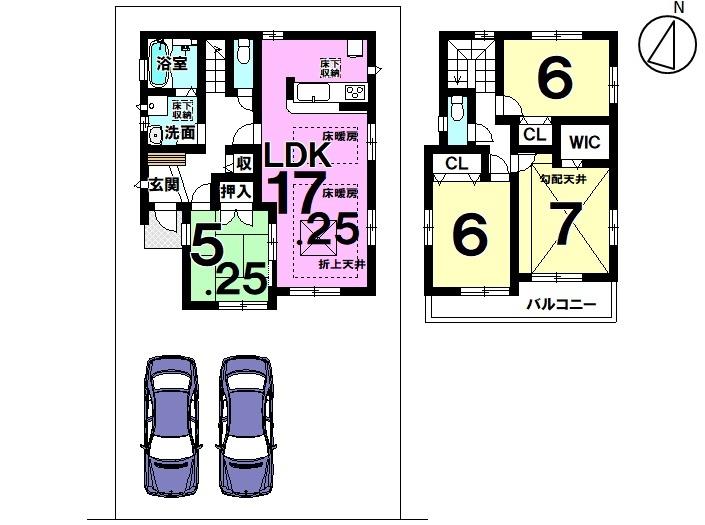 【間取り】 7号棟  4LDK 駐車スペース  2台分