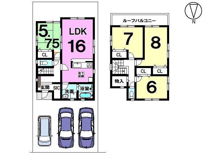 【間取り】  4LDK 駐車スペース  3台分 完成しました。 ご内覧可能です。