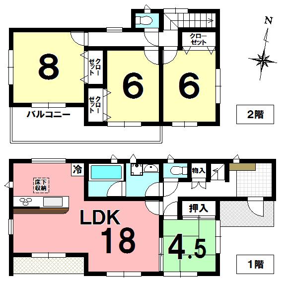 【間取り】 全室南向き、カースペース2台、ワイドバルコニーです。