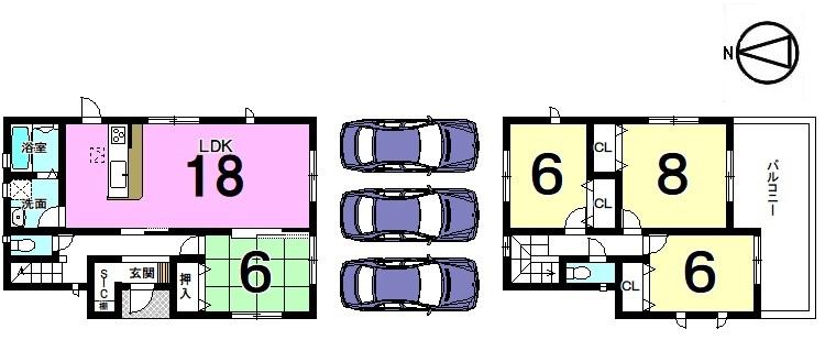 【間取り】 南西角地の物件です。 全てのお部屋が6帖以上のゆとりある間取り。 南向きバルコニーから日差しがたっぷり入ります。 並列で駐車3台可能です。