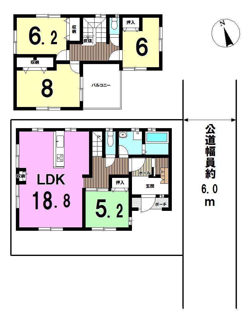【間取り】 LDK18帖以上~広々空間、日当たり良好!敷地面積約114.71㎡、ゆったり使える4LDK♪各居室収納付、主寝室8帖あり広くお使い頂けます。