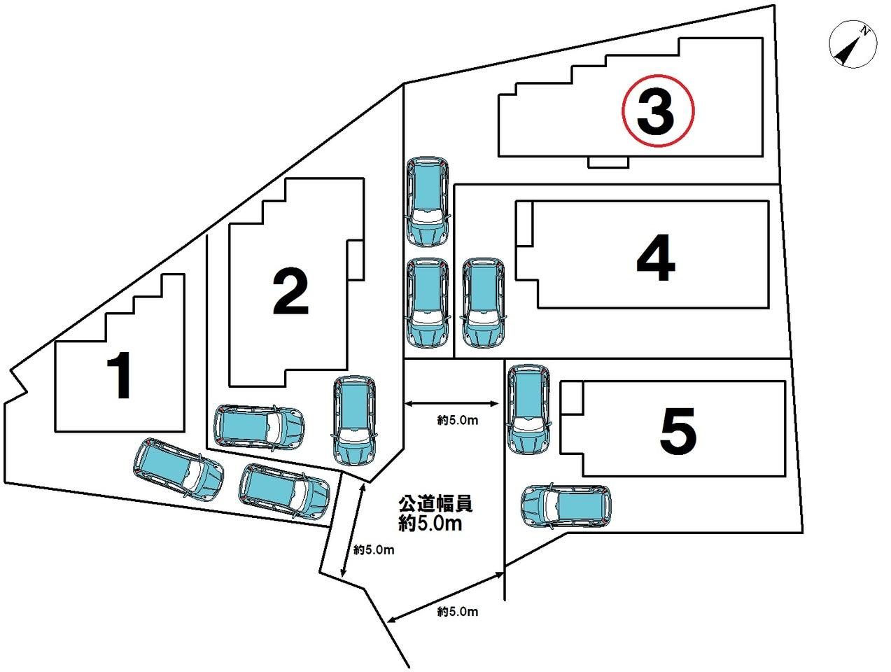 全5号棟です。☆3号棟☆車2台駐車可能!!ご夫婦共に車を所有できますね♪