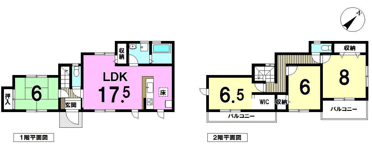 【間取り】 LDK17帖以上!カウンターキッチン、和室が独立しているので、客間やご両親との同居、主寝室等使い勝手色々OKです♪♪