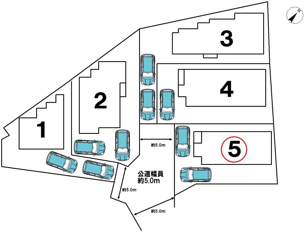 全5号棟です。☆5号棟☆車2台駐車可能!!ご夫婦共に車を所有できますね♪