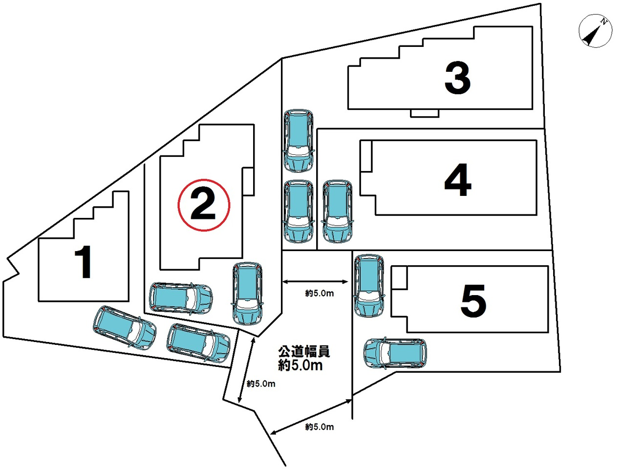 全5号棟☆2号棟です☆車2台駐車可能!!ご夫婦共に車を所有できますね