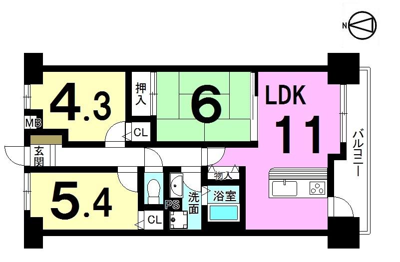 【間取り】 南向きバルコニーの明るいお部屋です。 全室に収納スペースを確保しました。 オートロックでセキュリティーも安心。 管理費などを合わせても月々3万円台の お支払いで購入可能です!!