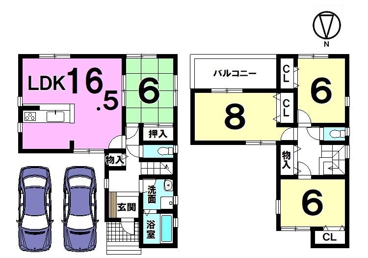 【間取り】 全室6帖以上の広さを確保したゆとりある間取り。 南向きバルコニーから日差しがたっぷり入ります。 並列で駐車2台可能です。