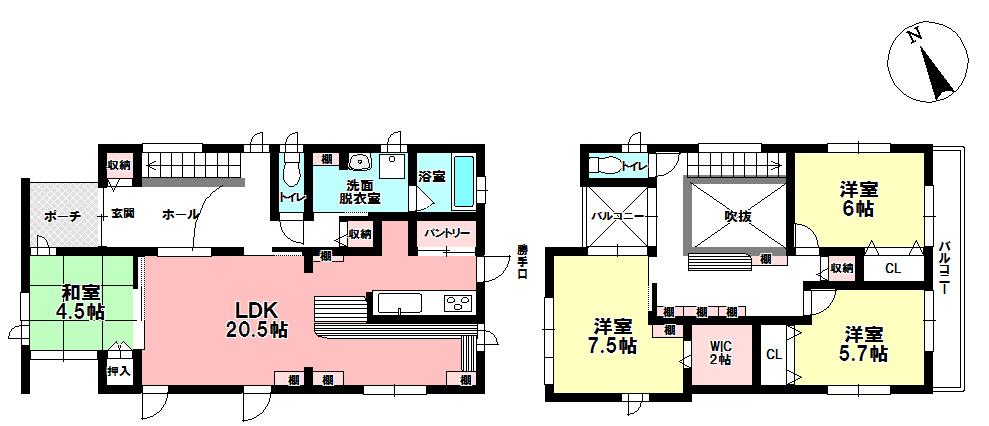 【間取り】 2980万円、4LDK+S(納戸)、土地面積214.87m2、建物面積122.55m2