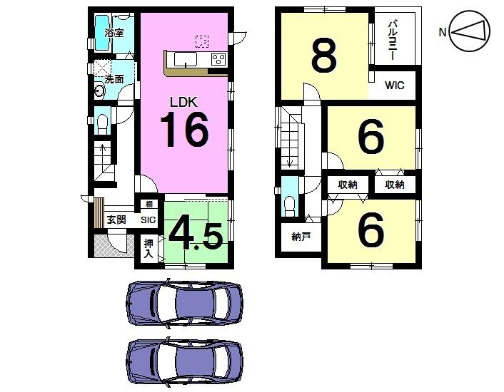 【間取り】 全室南向きの光あふれる物件が登場しました。 2帖の納戸や各部屋にクローゼットを設置した収納スペースが豊富な間取りです。 並列で駐車2台可能!!