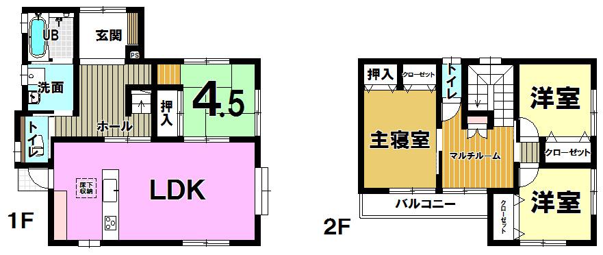 【間取り】 吉田にれの木坂二丁目♪みぞえ住宅の家♪オール電化・太陽光発電機システム♪駐車2台OK!