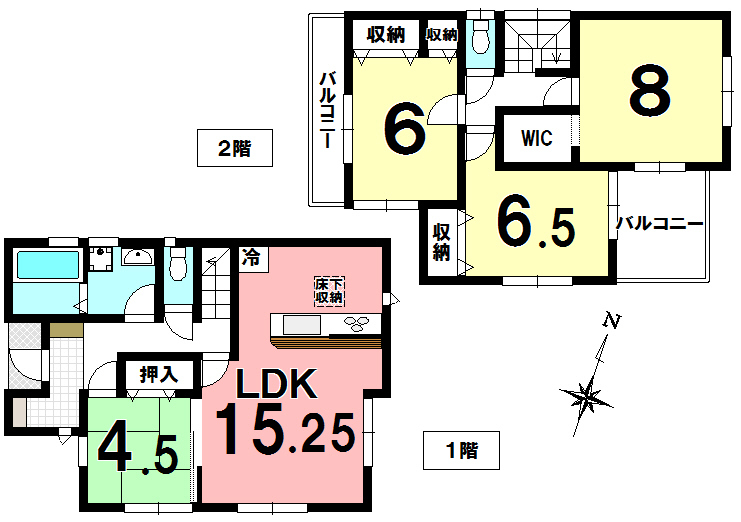 【間取り】 新築分譲 伊奈町大針全1棟です。