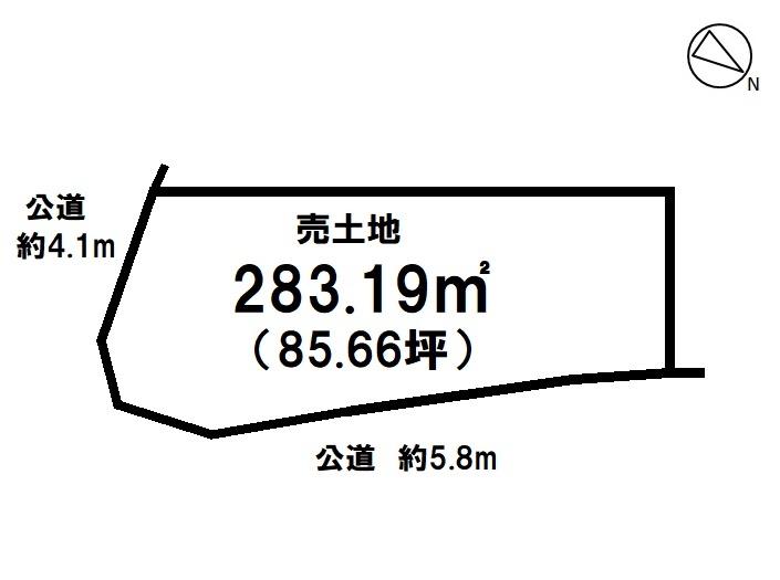 【区画図】 【 売土地 】  土地面積85,66 坪