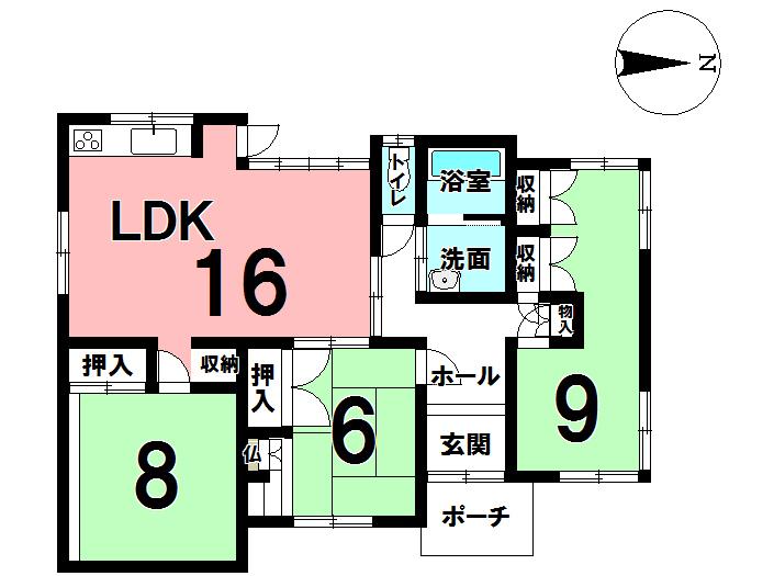 【間取り】 約9畳の広い和室があり、2部屋にリフォームも可能です。