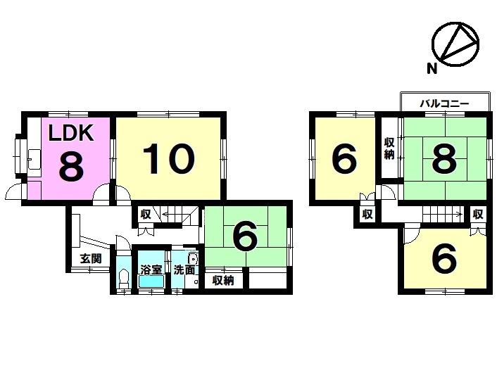 【間取り】 2013年2月リフォーム済(1階リビングフローリング貼り・全室クロス張替・瓦葺き替え他)・土地約58坪