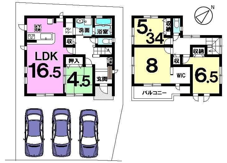 【間取り】 土地面積 44.3坪 建物面積 32.31坪