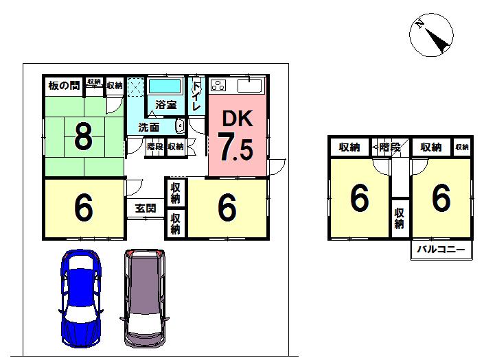 【間取り】 駐車場2台可!リフォームして新しいお家へと生まれ変わります。 平成30年1月完成予定です♪