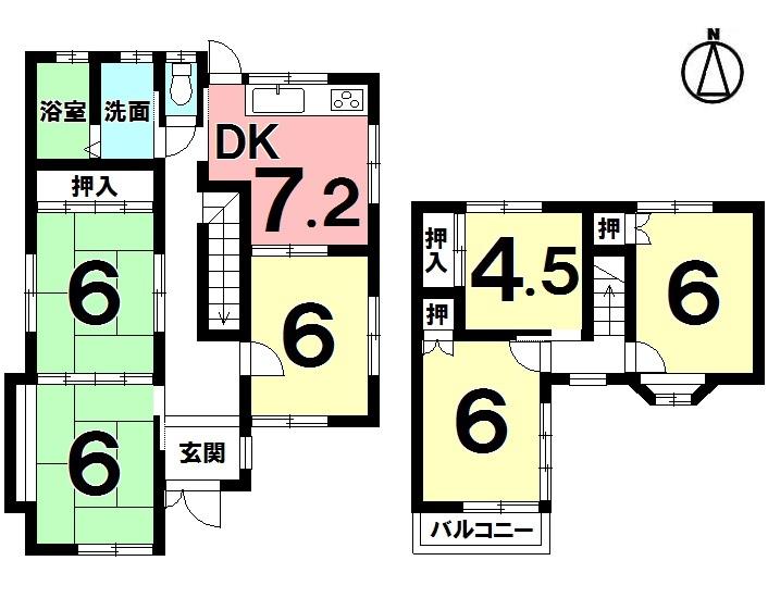 【間取り】 6DK 2017年3月リフォーム済 駐車1台