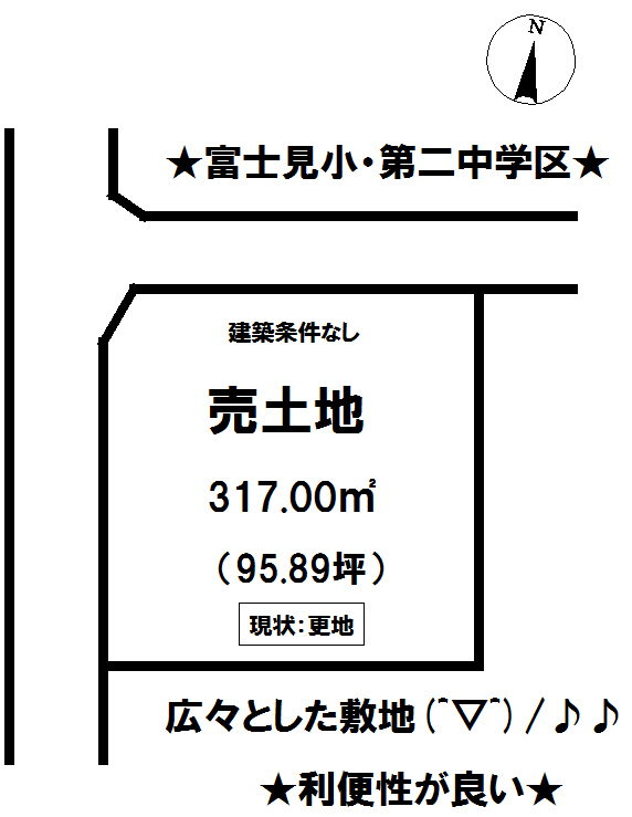 【区画図】 富士宮市三園平の売土地です。