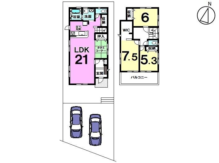 【間取り】 3LDK+畳スペース 駐車スペース2台分。