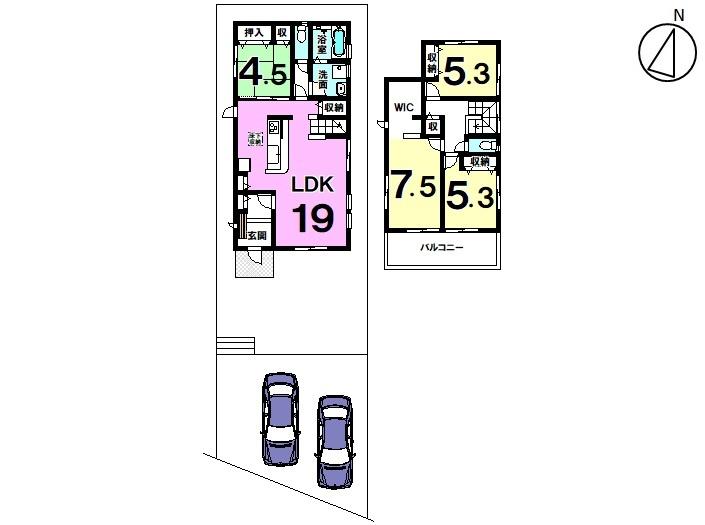 【間取り】 新築戸建 錦町全2区画 2号棟 土地面積 61,47坪 建物面積 32,06坪