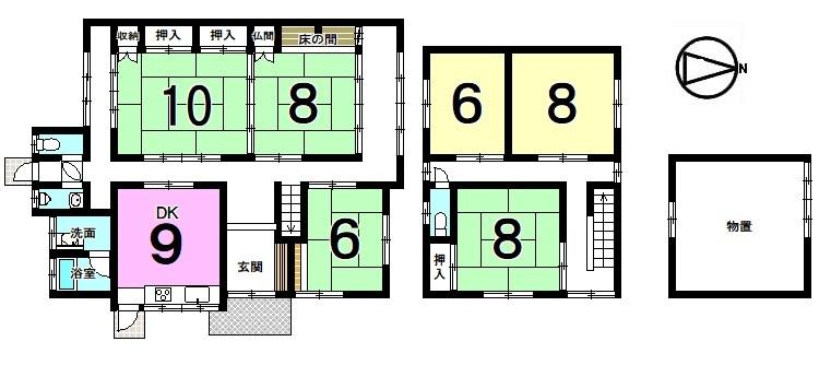 【間取り】 全室6帖以上の広さを確保した6DKの大きなおうち。 1階和室は2間続きで18帖あり、 大勢のお客様がいらしてもゆったりお過ごし頂けます。