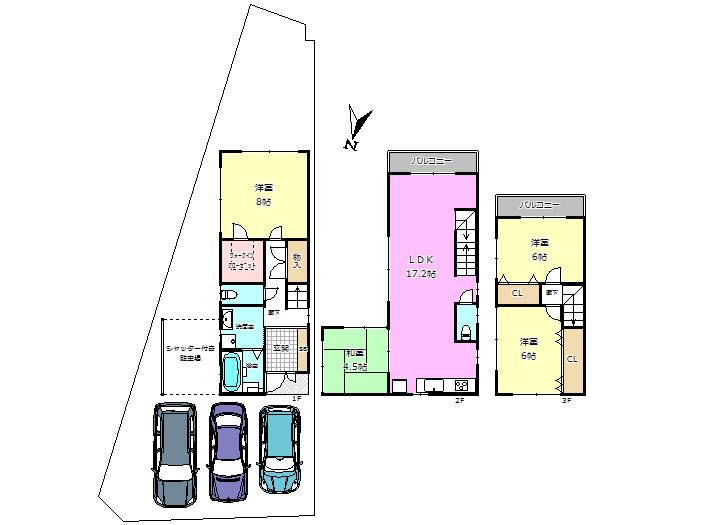 【間取り】 駐車スペース4台分ございます♪ 南東向きの明るいお家です♪