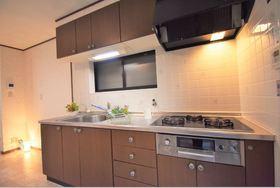 システムキッチン完備 ガスコンロも3つあるので複数の料理がいっぺんに作れますね♪