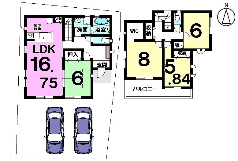 【間取り】 知多市金沢字郷中 新築戸建 完成致しました。 室内のご内覧受付中です。