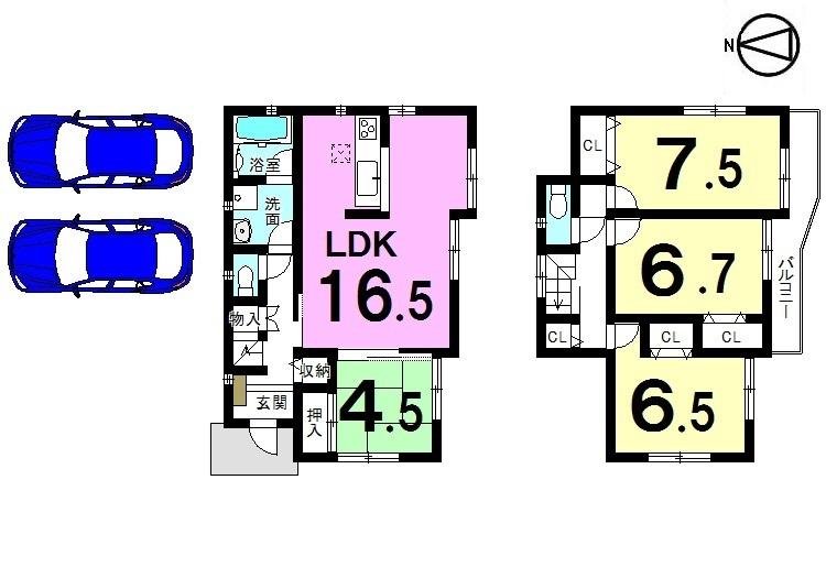 【間取り】 全室南向きの明るいおうち。 2室から出入りできるロングサイズの 南向きバルコニーが自慢です。 並列で駐車2台可能!!