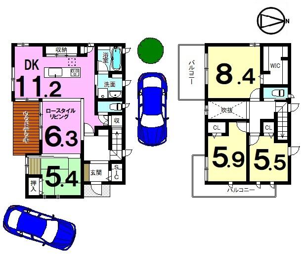 【間取り】 大和ハウス施工の新築物件です。 家具・照明器具・エアコン2台付き! ハウスメーカーならではの豪華で 洗練された仕様を是非ご覧下さい!