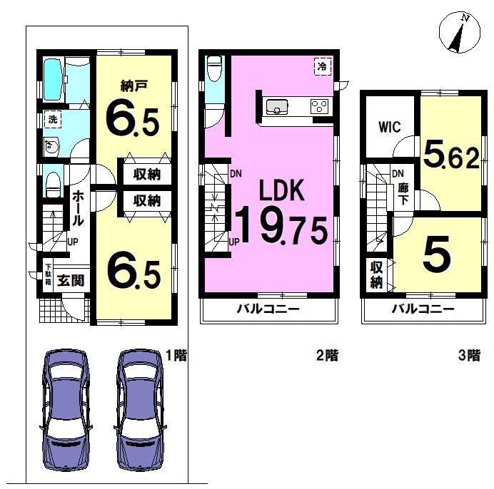 【間取り】 江戸川区南小岩3丁目 6号棟 全6棟 新築戸建の物件です。