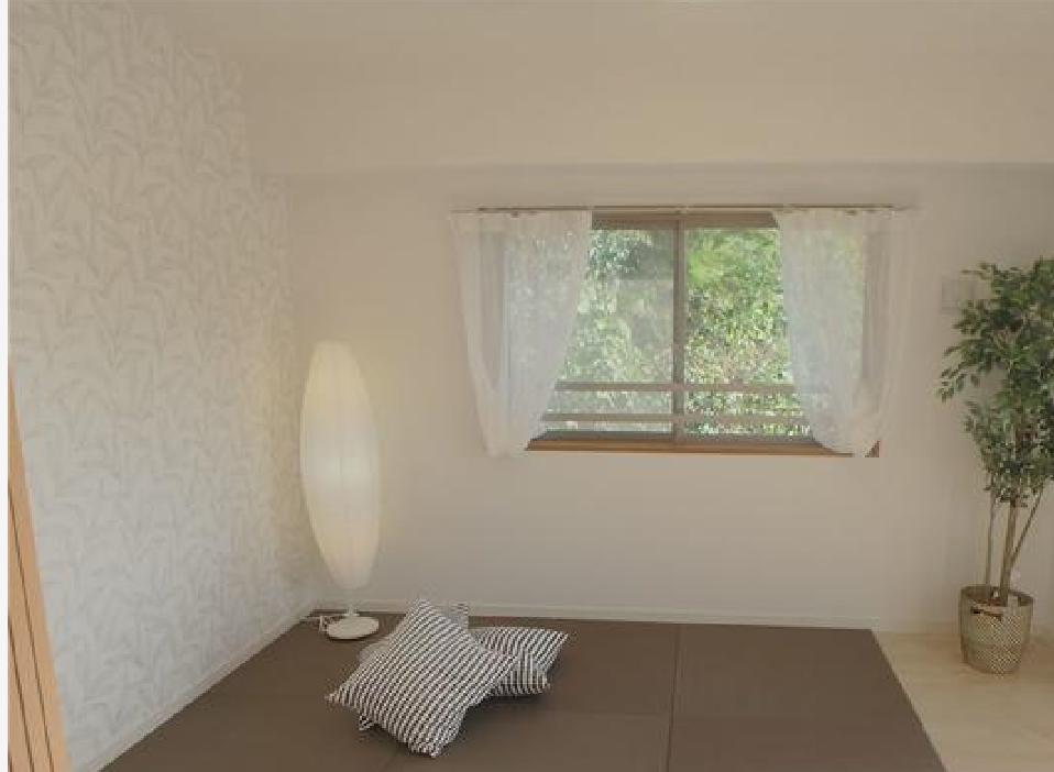 洋室に置き畳を敷いて現代風の和室スペースを作っています♪