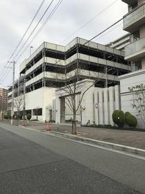 玄関からの前面道路です。写る建物は駐車場棟です。