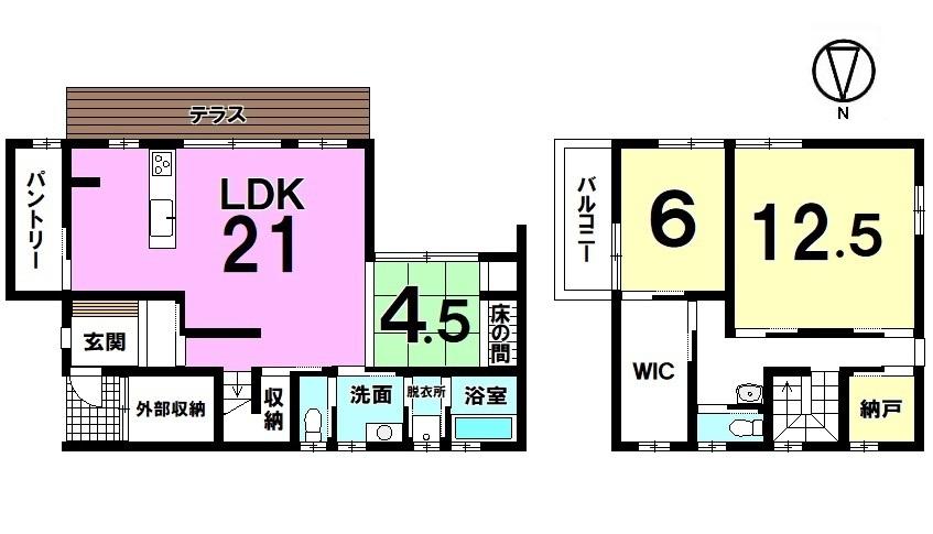 【間取り】 21帖の大きなLDKは是非ご覧頂きたいポイントです! 2階12.5帖の洋室は主寝室にいかがでしょうか? LDK前のテラスは南向きの明るい空間。 ご家族の憩いの場にぴったりですね。