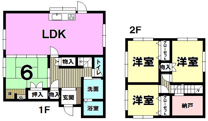 【間取り】 北九州市小倉南区葛原本町3丁目の中古一戸建て♪リフォーム物件ですぐ住めますよ♪