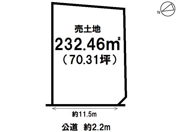 【区画図】 新舞子字西畑ヶ 売り土地 土地面積70.31坪。