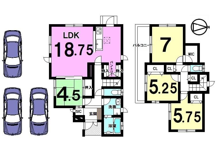 【間取り】 全室南向きの明るいお家! 18.75帖の大きなLDKは是非ご覧頂きたいポイントです。 駐車3台可能です。 今井小学校まで徒歩9分の便利な立地。