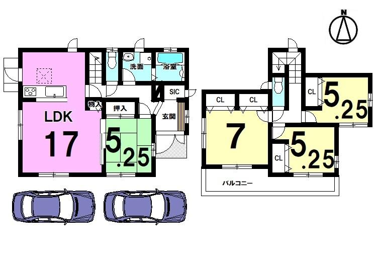 【間取り】 全室南向きの明るいお家! 17帖の大きなLDKは是非ご覧頂きたいポイントです。 今井小学校まで徒歩9分の便利な立地です。