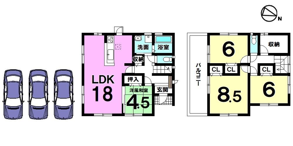 【間取り】 18帖のLDKは是非ご覧頂きたいポイント! 2階には約3帖の収納スペースを確保しました。 並列で3台の駐車スペースをそなえた ゆとりある敷地は59.88坪ございます。 是非ご検討下さい。