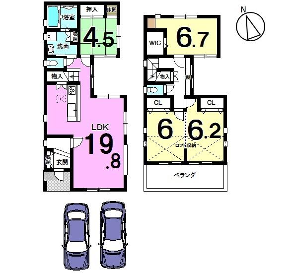 【間取り】 19.8帖のLDKは是非ご覧頂きたいポイントです! 全室に収納スペースを確保し、2階には ロフトもございます。 月々6万円台のお支払いで購入可能な オール電化住宅です。