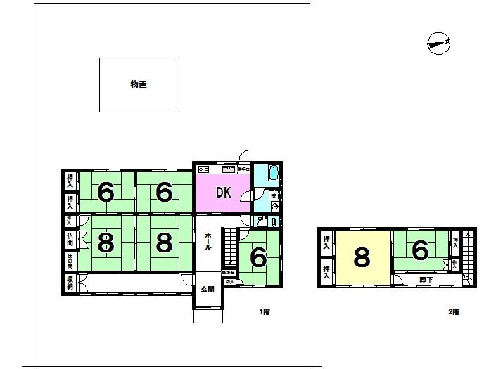 【間取り】 襖によって仕切られたお部屋は開放して広く使うことも可能です。広々7DKご体感下さい!