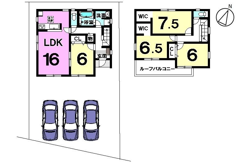 【間取り】 新築戸建  土地面積 71,68坪 建物面積 31,56坪