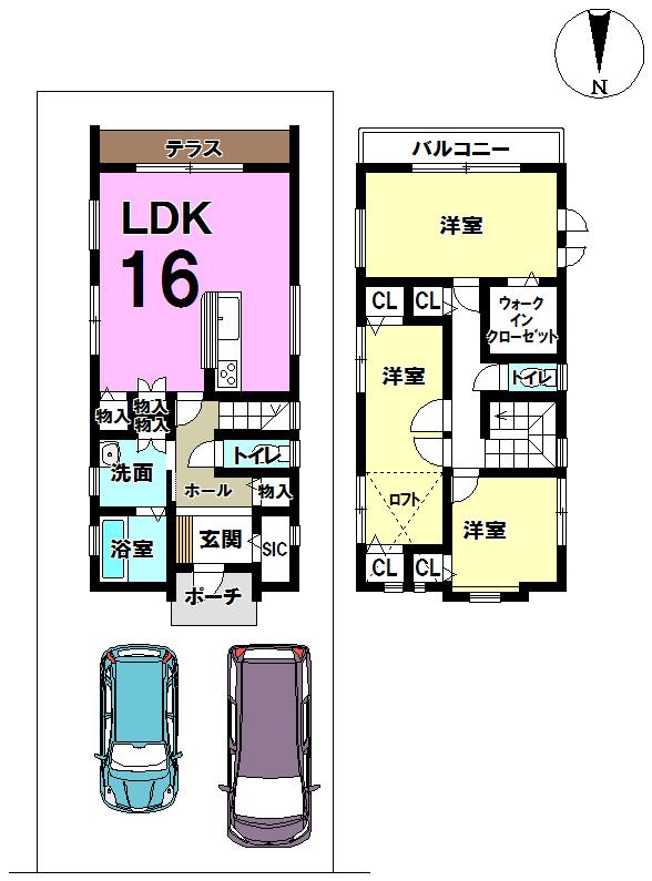【間取り】 明野西エリアに新築物件が登場♪ 駐車場2台可能です。南向きのテラスとバルコニーがついています。 ロフトもついてとってもおすすめです♪
