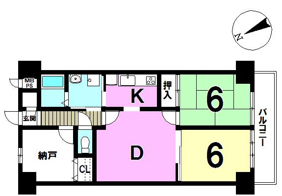 【間取り】 ☆202号室☆納戸付♪の広々2SDK!!キッチンが独立しているのでお料理がし易いですね♪
