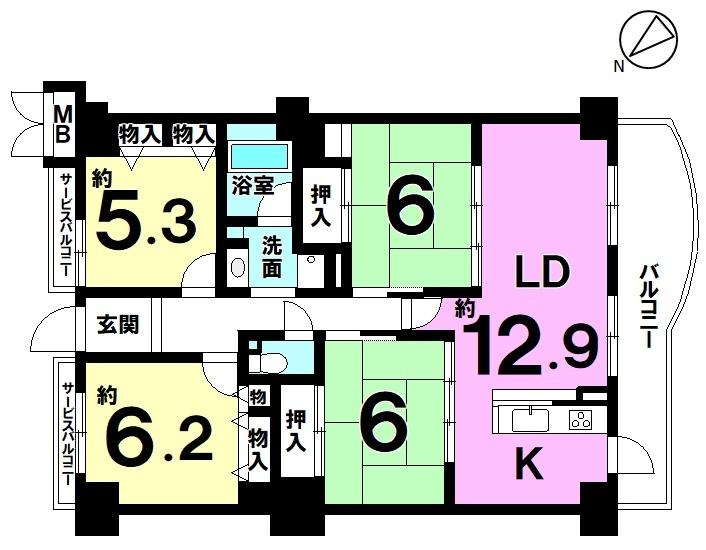 【間取り】 4LDK・ペット飼育可(規約有)・13階建て5階・南西向きバルコニー♪