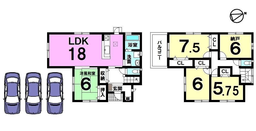 【間取り】 18帖の広々としたLDKが自慢のおうちです。 6帖の納戸をはじめ各部屋に収納スペースを確保しました。 土地面積60坪のゆとりある敷地で ガーデニングやバーベキューをお楽しみ下さい。
