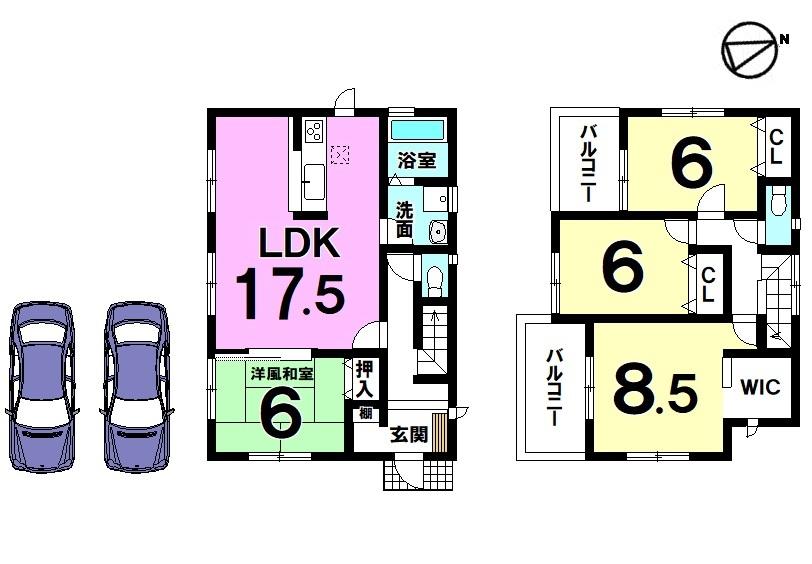 【間取り】 全室南向き、17.5帖の広々としたLDKが自慢のおうちです。 2室に独立したバルコニーを設置。 収納スペースも豊富に確保しております。