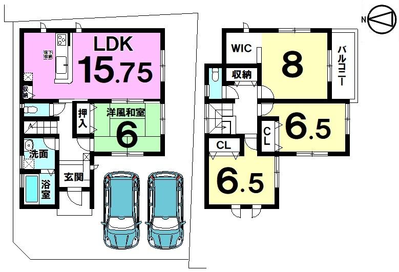 【間取り】 季節の移ろいを身近に感じる、自然豊かな閑静な住宅地 フラット35S対応新築戸建物件