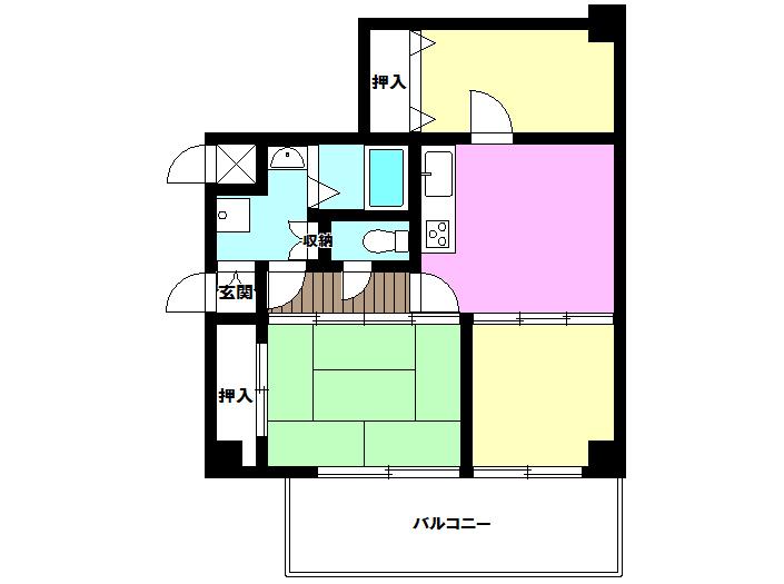 【間取り】 収納が大きくお部屋を区切って使えるタイプの間取りとなります